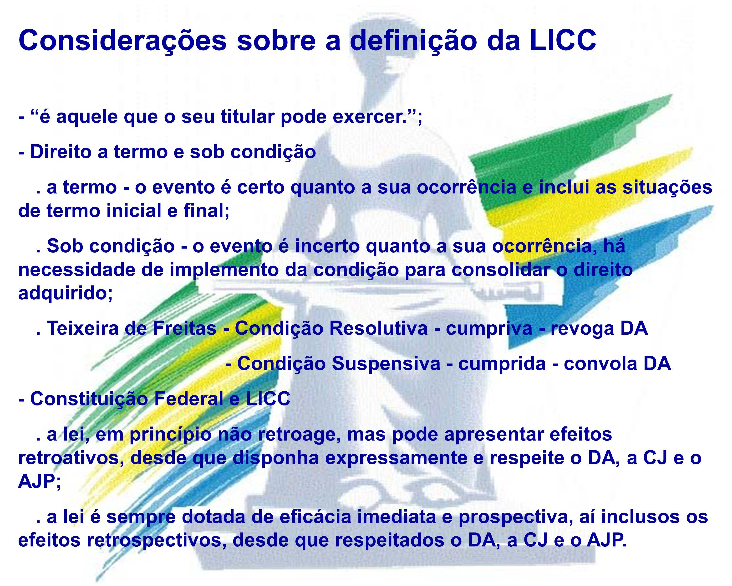 Considerações sobre a definição da LICC