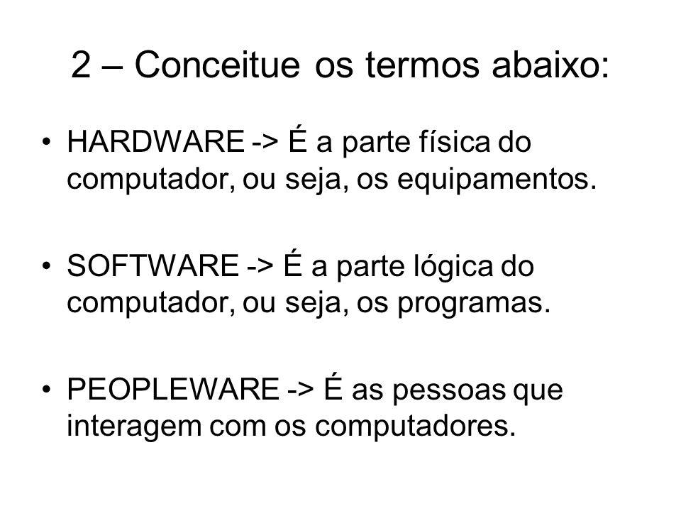 2 – Conceitue os termos abaixo: