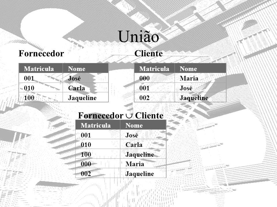 União Fornecedor Cliente Fornecedor  Cliente Matricula Nome 001 José