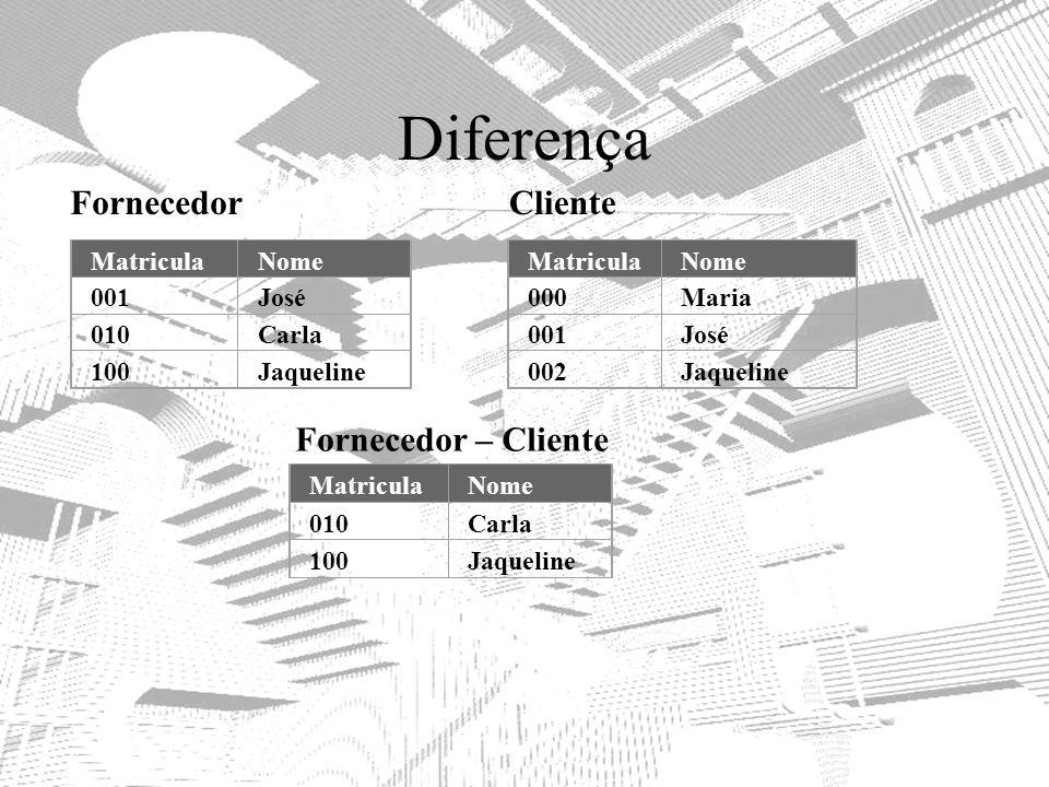 Diferença Fornecedor Cliente Fornecedor – Cliente Matricula Nome 001