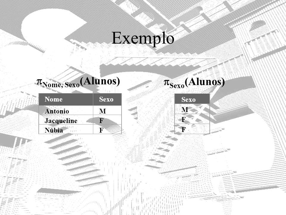 Exemplo Nome, Sexo(Alunos) Sexo(Alunos) Nome Sexo Antonio M