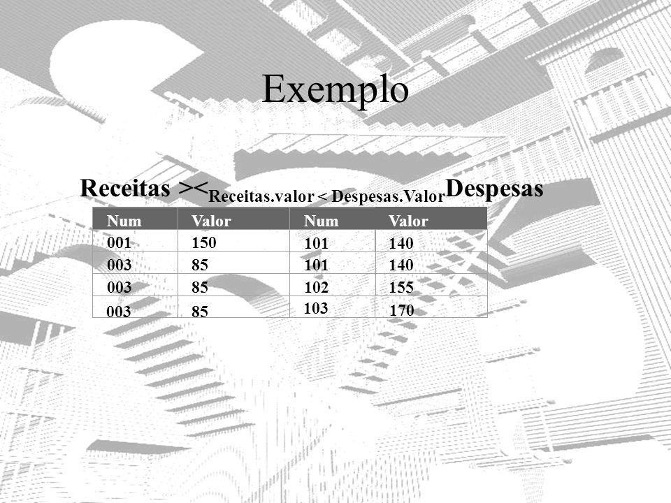 Exemplo Receitas ><Receitas.valor < Despesas.ValorDespesas