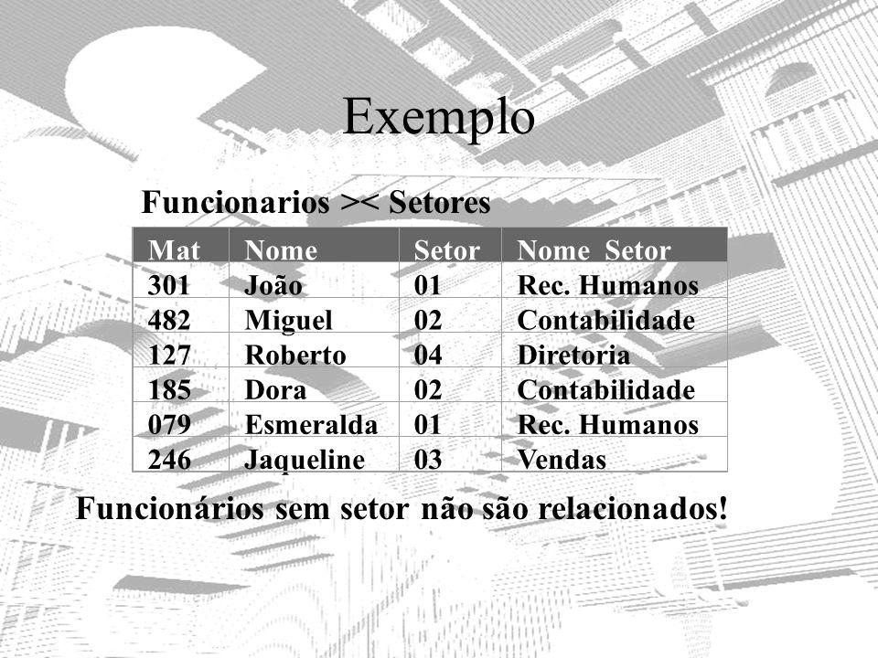 Exemplo Funcionarios >< Setores