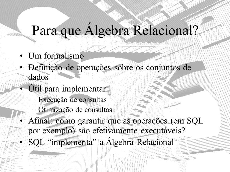 Para que Álgebra Relacional