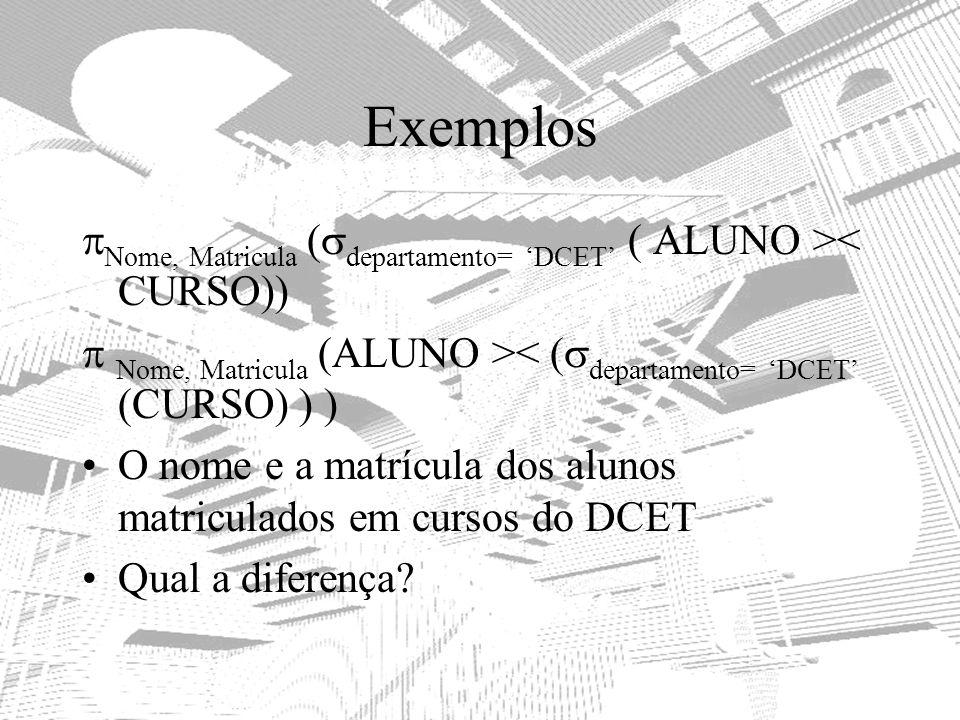 Exemplos Nome, Matricula (departamento= 'DCET' ( ALUNO >< CURSO))  Nome, Matricula (ALUNO >< (departamento= 'DCET' (CURSO) ) )
