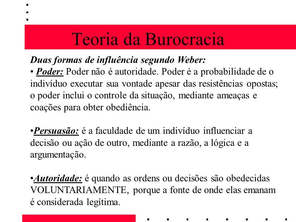 Teoria da Burocracia Duas formas de influência segundo Weber: