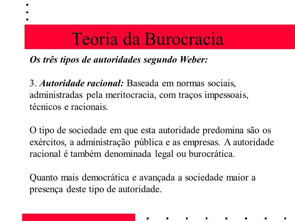 Teoria da Burocracia Os três tipos de autoridades segundo Weber: