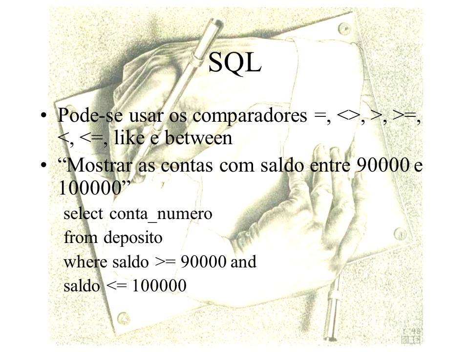 SQL Pode-se usar os comparadores =, <>, >, >=, <, <=, like e between. Mostrar as contas com saldo entre 90000 e 100000