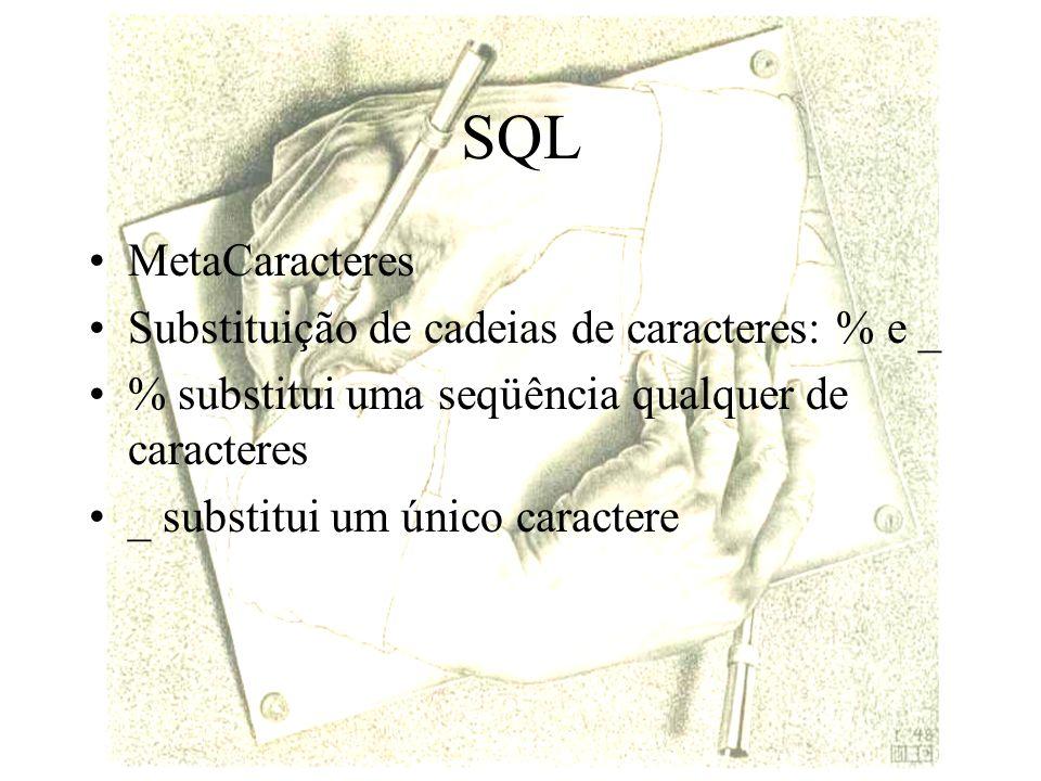 SQL MetaCaracteres Substituição de cadeias de caracteres: % e _