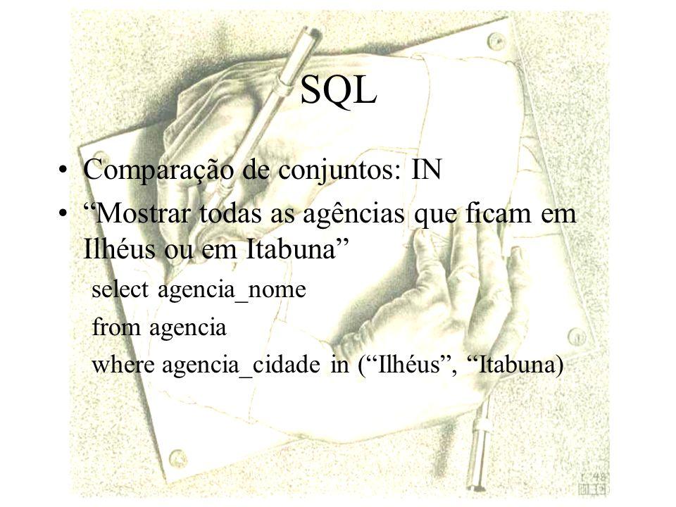 SQL Comparação de conjuntos: IN