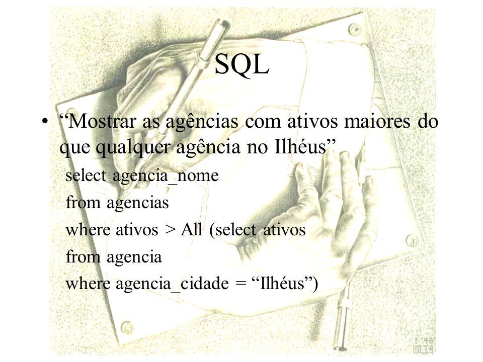 SQL Mostrar as agências com ativos maiores do que qualquer agência no Ilhéus select agencia_nome.