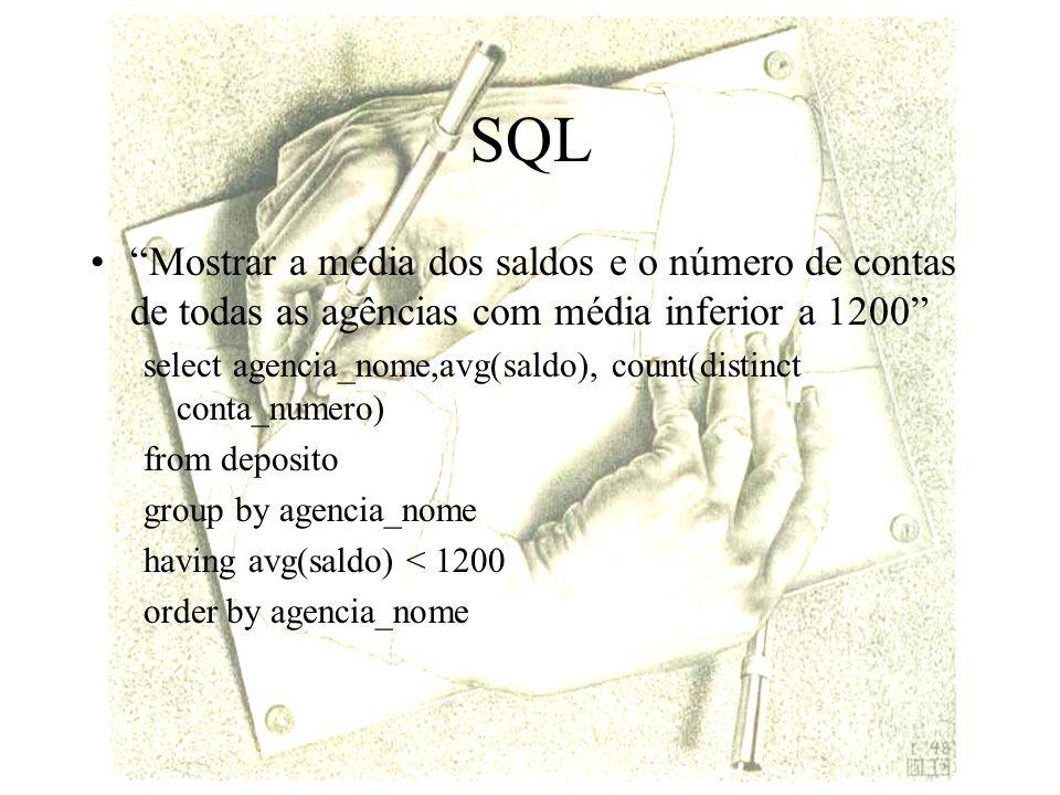 SQL Mostrar a média dos saldos e o número de contas de todas as agências com média inferior a 1200