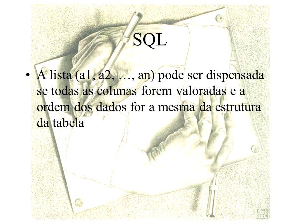 SQL A lista (a1, a2, …, an) pode ser dispensada se todas as colunas forem valoradas e a ordem dos dados for a mesma da estrutura da tabela.