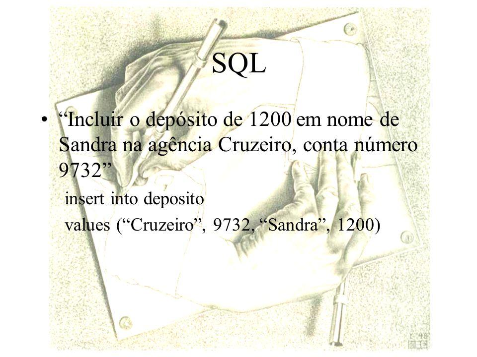 SQL Incluir o depósito de 1200 em nome de Sandra na agência Cruzeiro, conta número 9732 insert into deposito.
