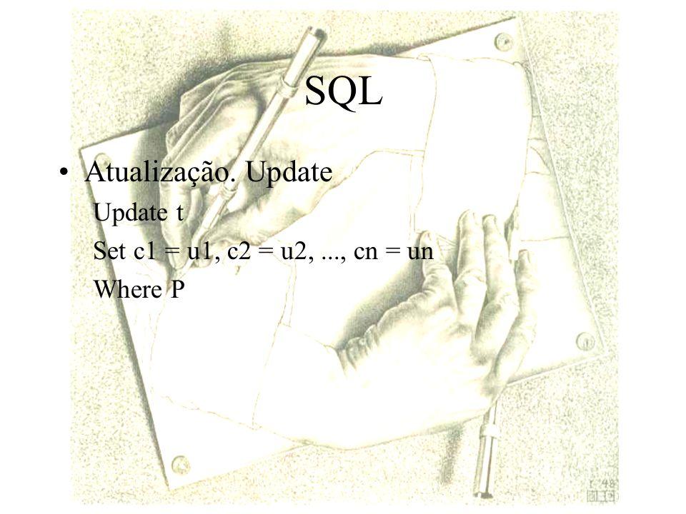 SQL Atualização. Update Update t Set c1 = u1, c2 = u2, ..., cn = un