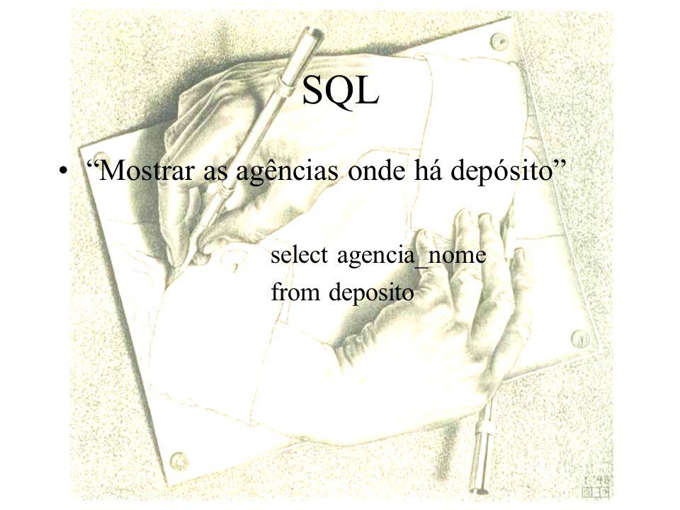 SQL Mostrar as agências onde há depósito select agencia_nome