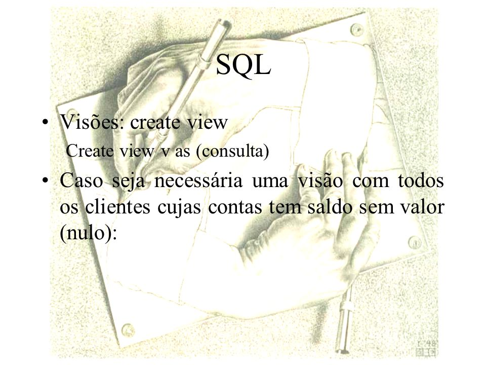 SQL Visões: create view