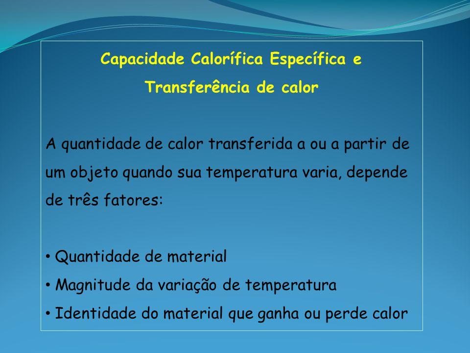 Capacidade Calorífica Específica e Transferência de calor