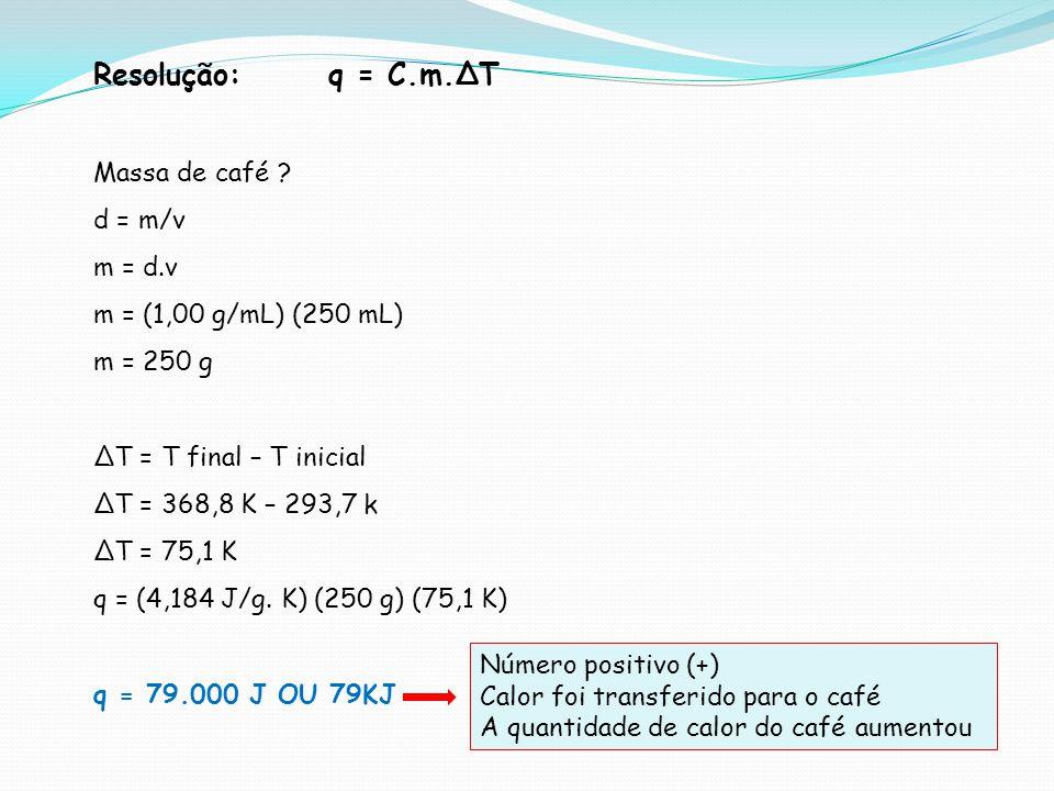 Resolução: q = C.m.∆T Massa de café d = m/v m = d.v