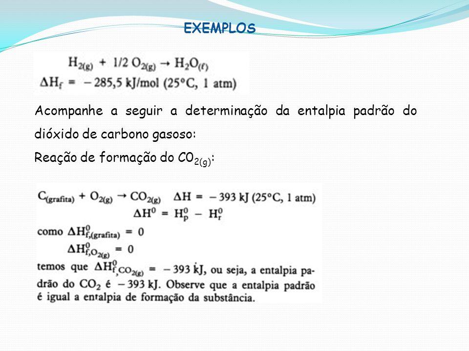 EXEMPLOS Acompanhe a seguir a determinação da entalpia padrão do dióxido de carbono gasoso: Reação de formação do C02(g):