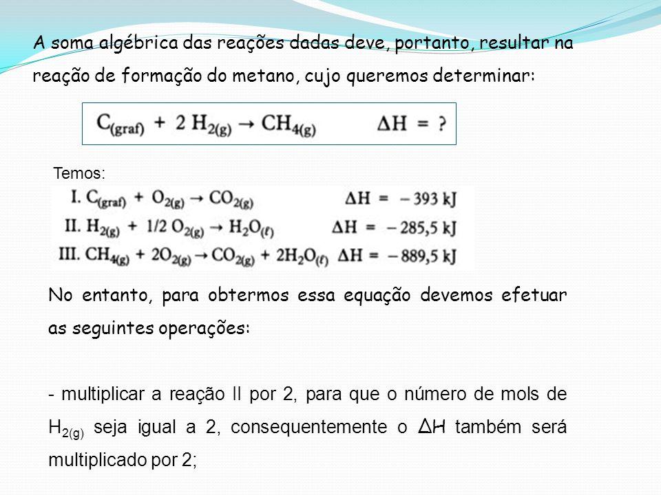 A soma algébrica das reações dadas deve, portanto, resultar na reação de formação do metano, cujo queremos determinar: