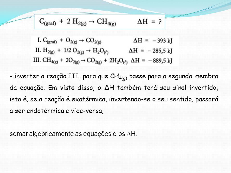 - inverter a reação III, para que CH4(g) passe para o segundo membro da equação. Em vista disso, o ∆H também terá seu sinal invertido, isto é, se a reação é exotérmica, invertendo-se o seu sentido, passará a ser endotérmica e vice-versa;