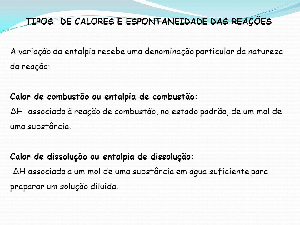 TIPOS DE CALORES E ESPONTANEIDADE DAS REAÇÕES
