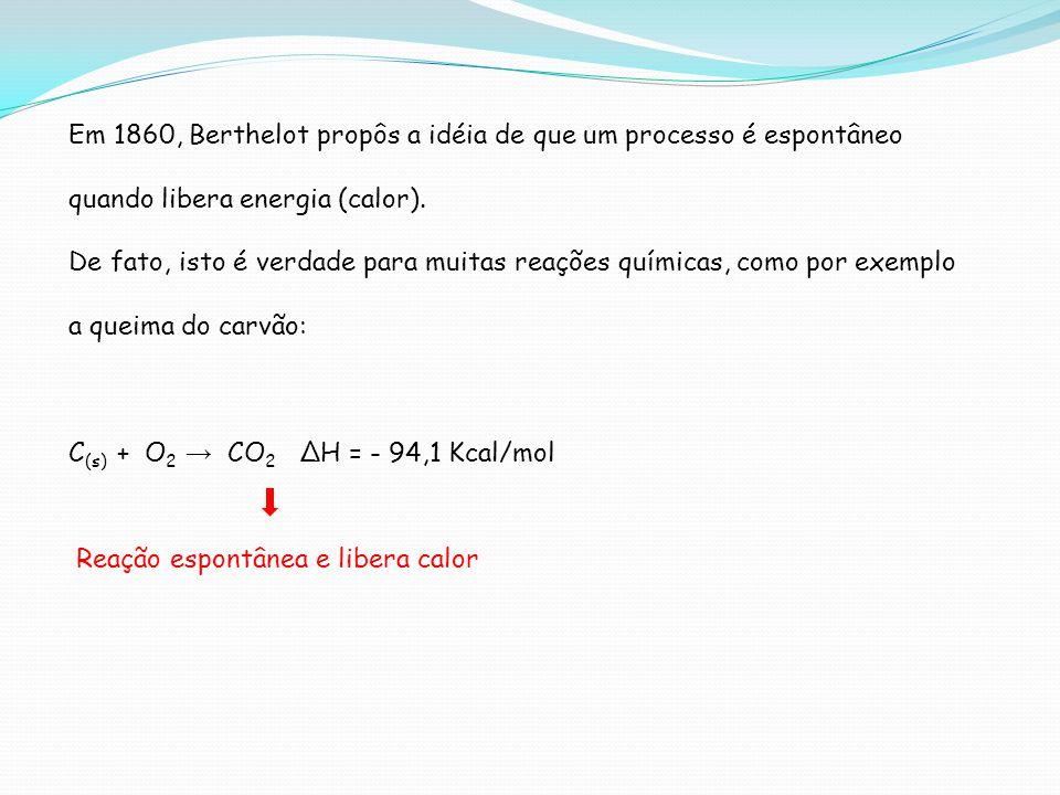 Em 1860, Berthelot propôs a idéia de que um processo é espontâneo quando libera energia (calor).