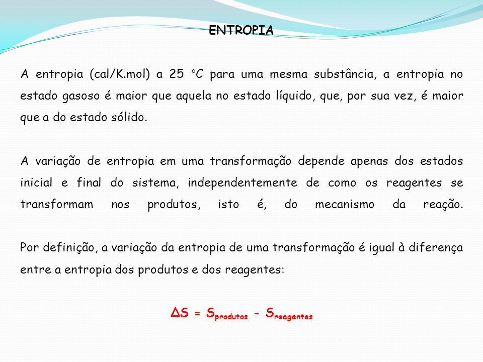 ∆S = Sprodutos - Sreagentes