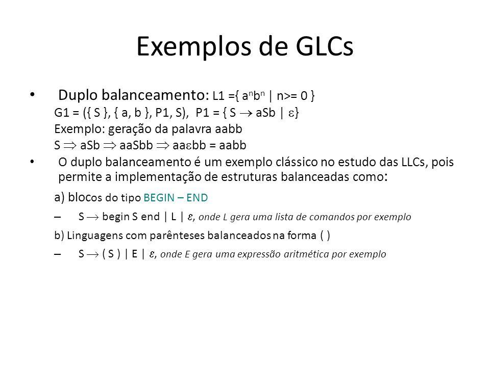 Exemplos de GLCs Duplo balanceamento: L1 ={ anbn | n>= 0 }