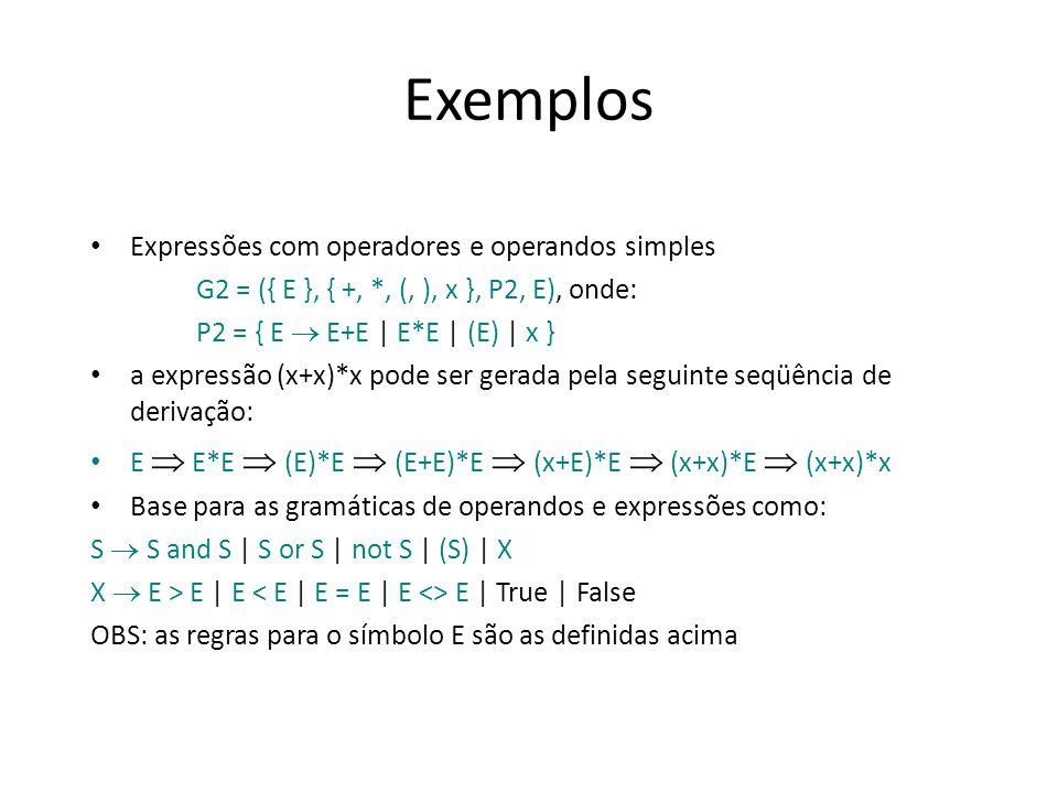 Exemplos Expressões com operadores e operandos simples