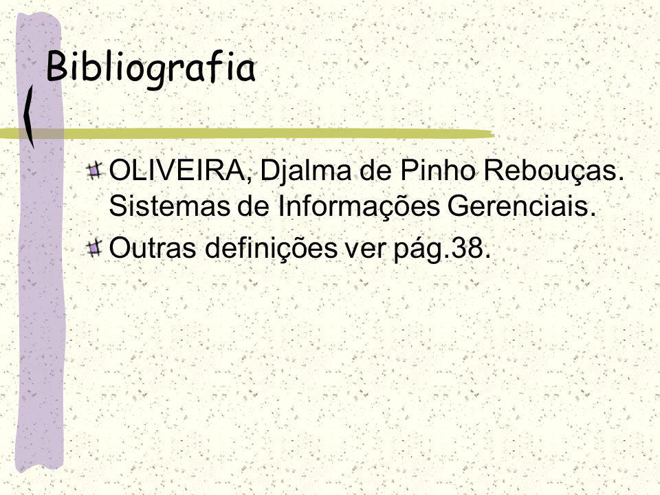Bibliografia OLIVEIRA, Djalma de Pinho Rebouças. Sistemas de Informações Gerenciais.