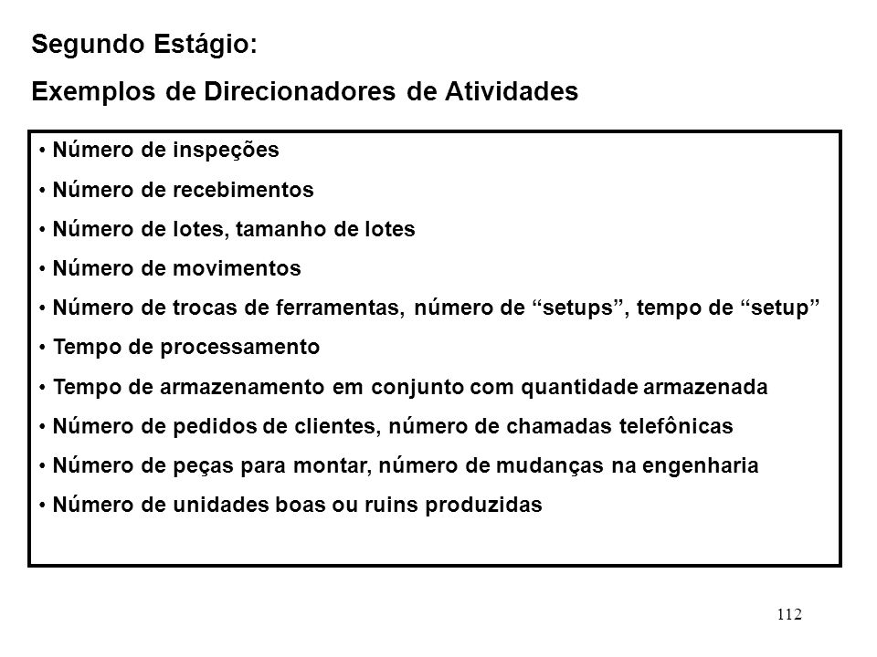 Exemplos de Direcionadores de Atividades