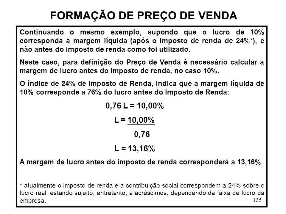 FORMAÇÃO DE PREÇO DE VENDA
