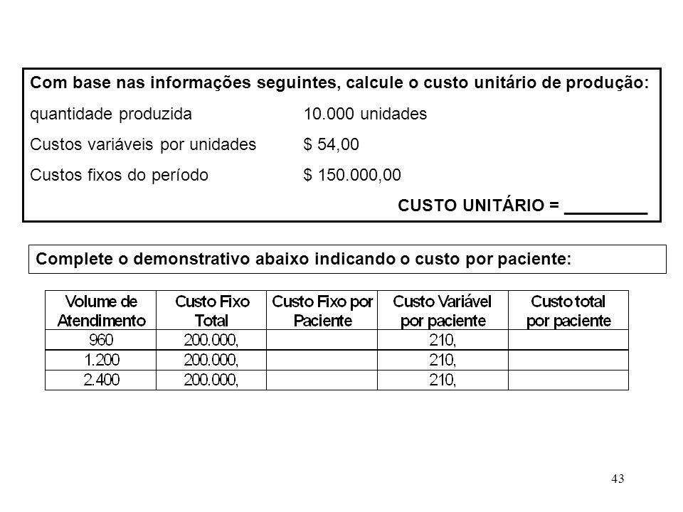 Com base nas informações seguintes, calcule o custo unitário de produção: