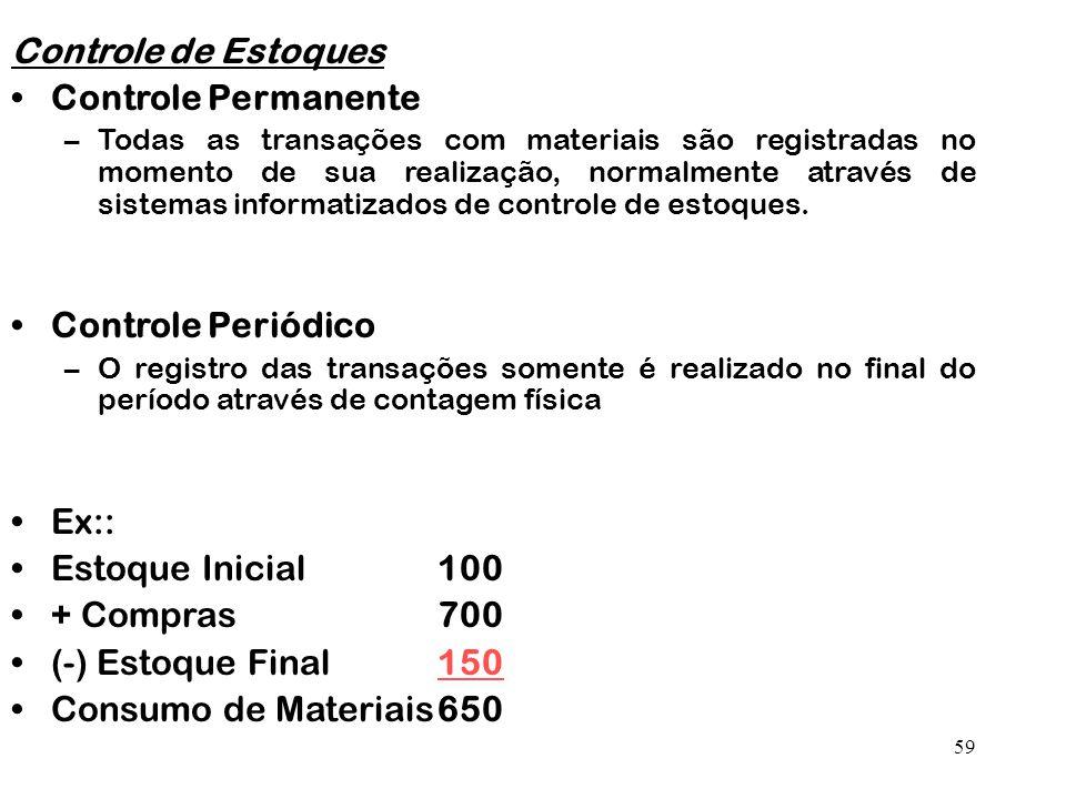 Controle de Estoques Controle Permanente Controle Periódico Ex::
