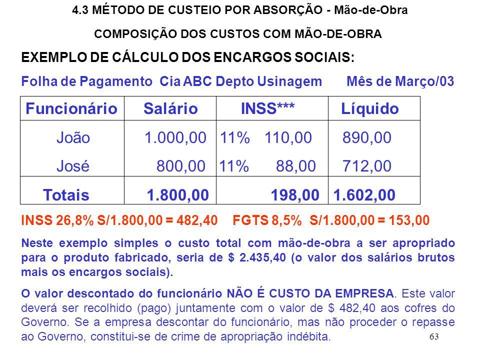 Funcionário Salário INSS*** Líquido João 1.000,00 11% 110,00 890,00