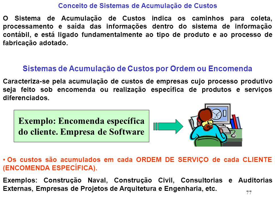 Exemplo: Encomenda específica do cliente. Empresa de Software