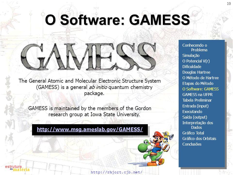 O Software: GAMESS Conhecendo o Problema. Simulação. O Potencial V(r) Dificuldade. Douglas Hartree.
