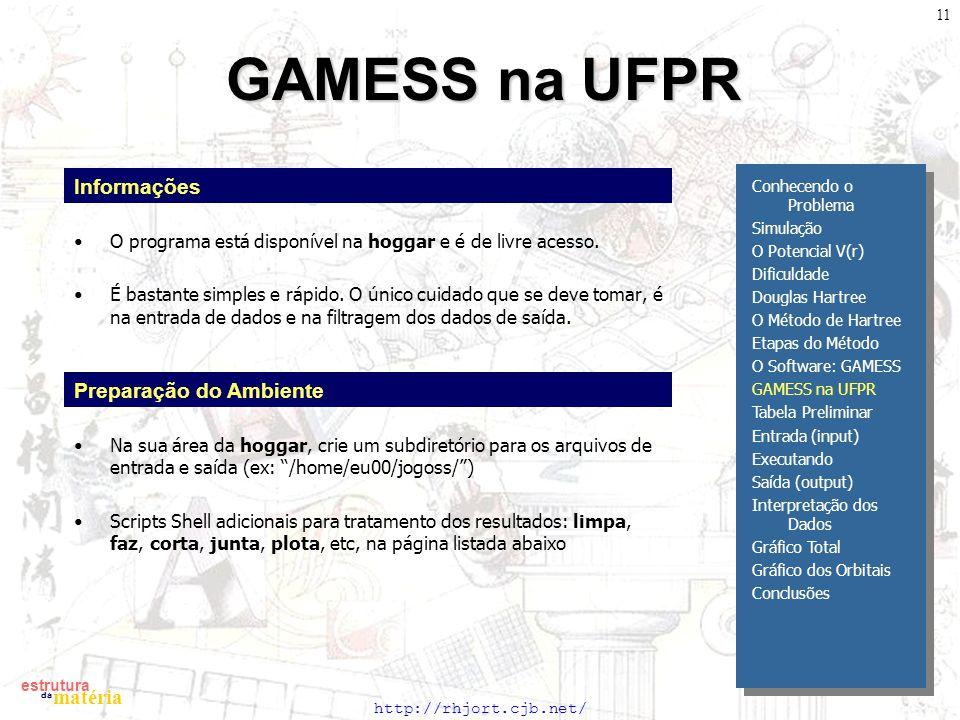 GAMESS na UFPR Informações Preparação do Ambiente