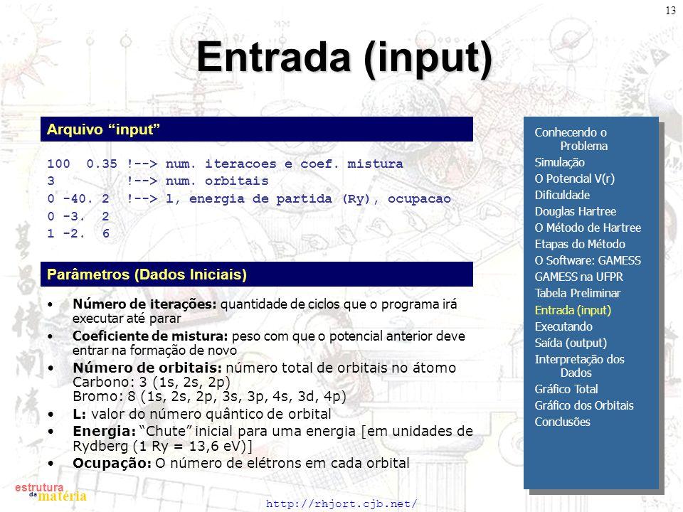 Entrada (input) Arquivo input Parâmetros (Dados Iniciais)