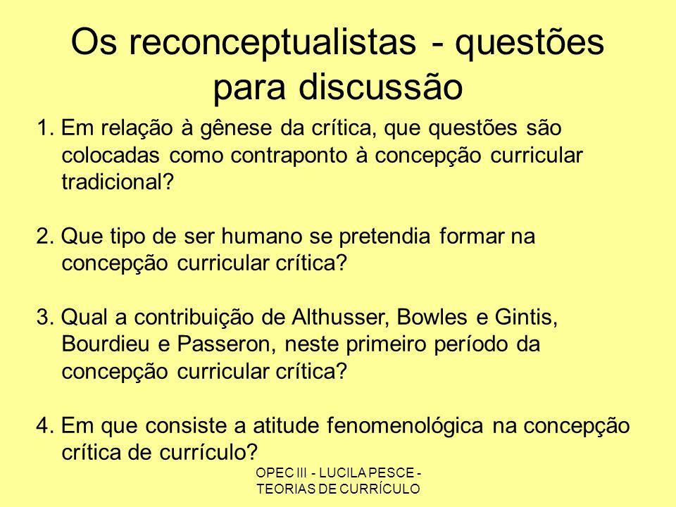 Os reconceptualistas - questões para discussão