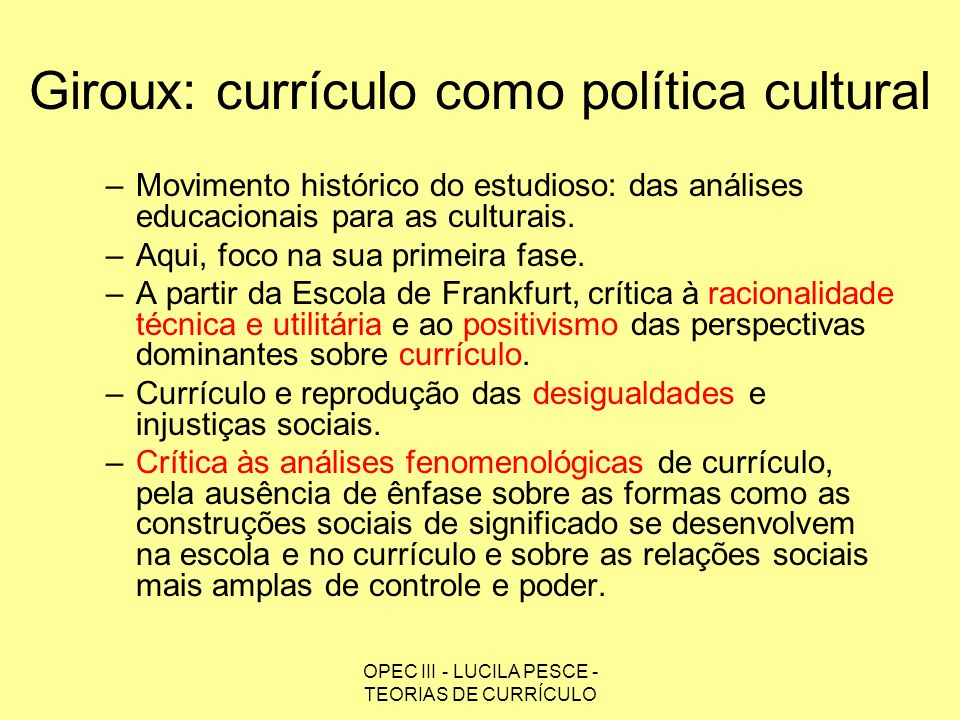 Giroux: currículo como política cultural