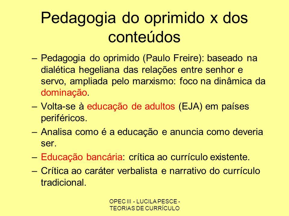 Pedagogia do oprimido x dos conteúdos