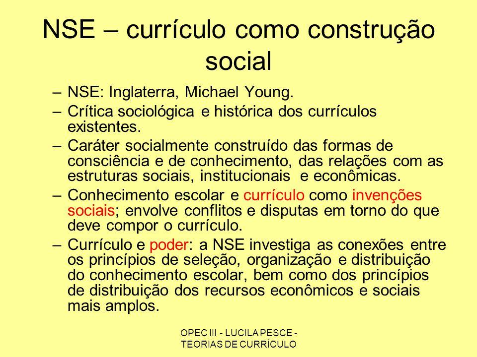 NSE – currículo como construção social