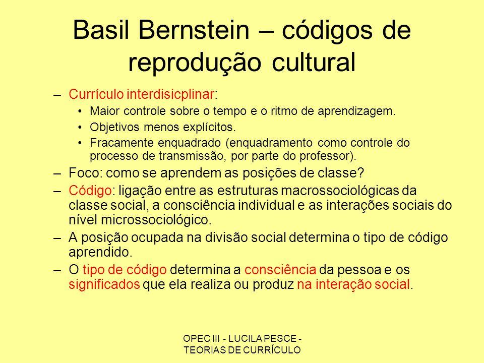 Basil Bernstein – códigos de reprodução cultural