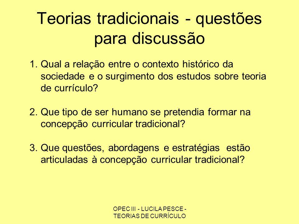 Teorias tradicionais - questões para discussão