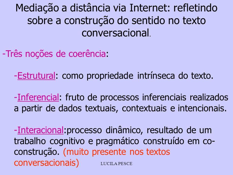 Mediação a distância via Internet: refletindo sobre a construção do sentido no texto conversacional.