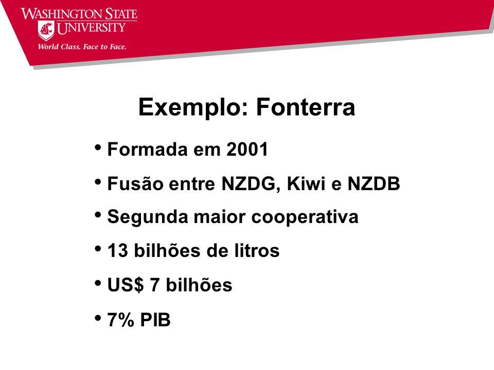 Exemplo: Fonterra Formada em 2001 Fusão entre NZDG, Kiwi e NZDB