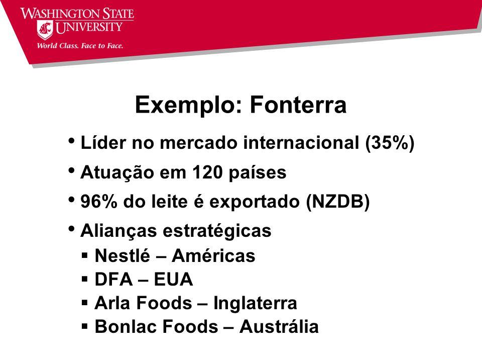 Exemplo: Fonterra Líder no mercado internacional (35%)
